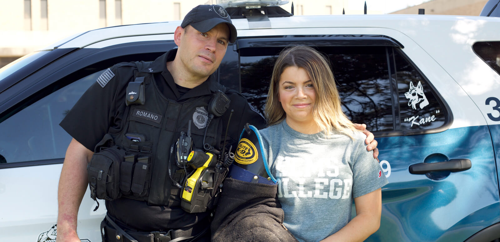 Criminal Justice Student with police officer