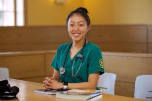 Photo of an Elms nursing student.