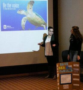 Photo of Alyssa Mercado presenting at the Sophomore Leadership Program presentation day