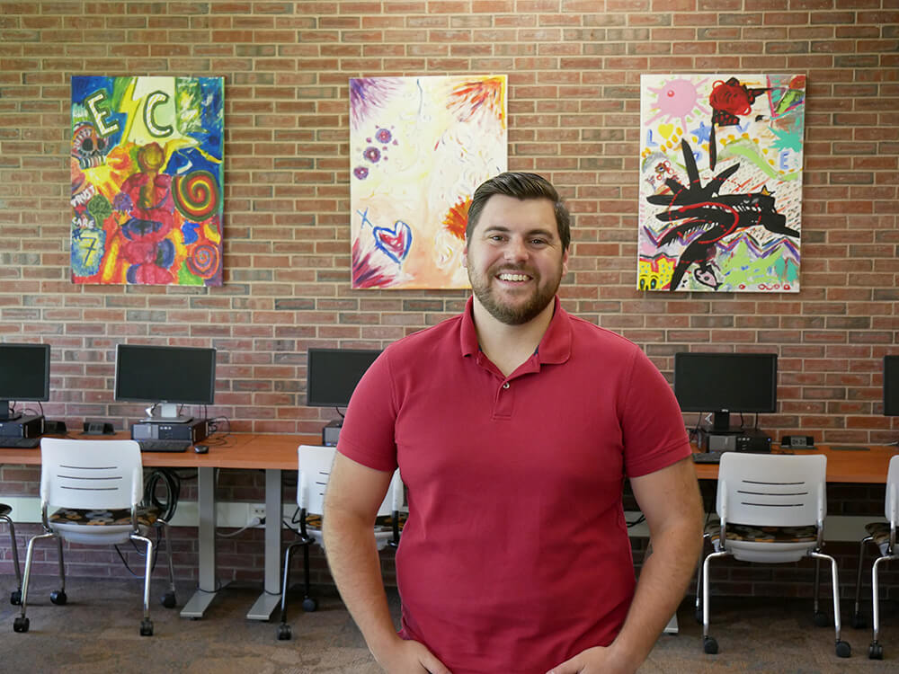 Photo of Matthew Brown '19, a student in the Elms/HCC program in management and marketing