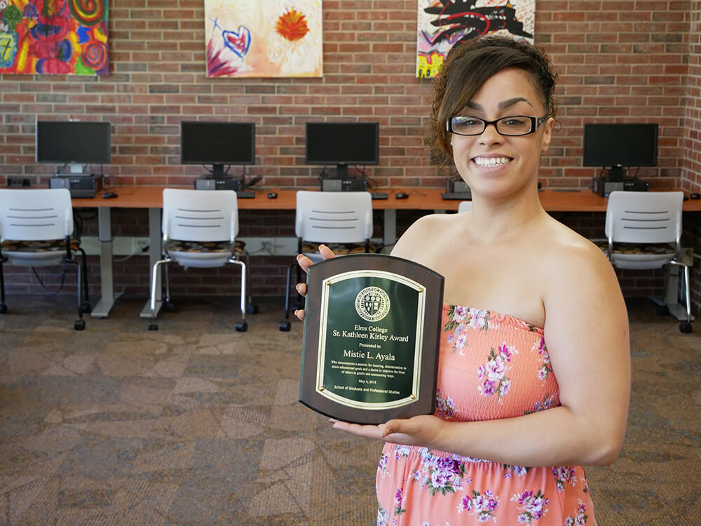 Photo of Mistie Ayala '18, a graduate of the Elms/STCC program in social work