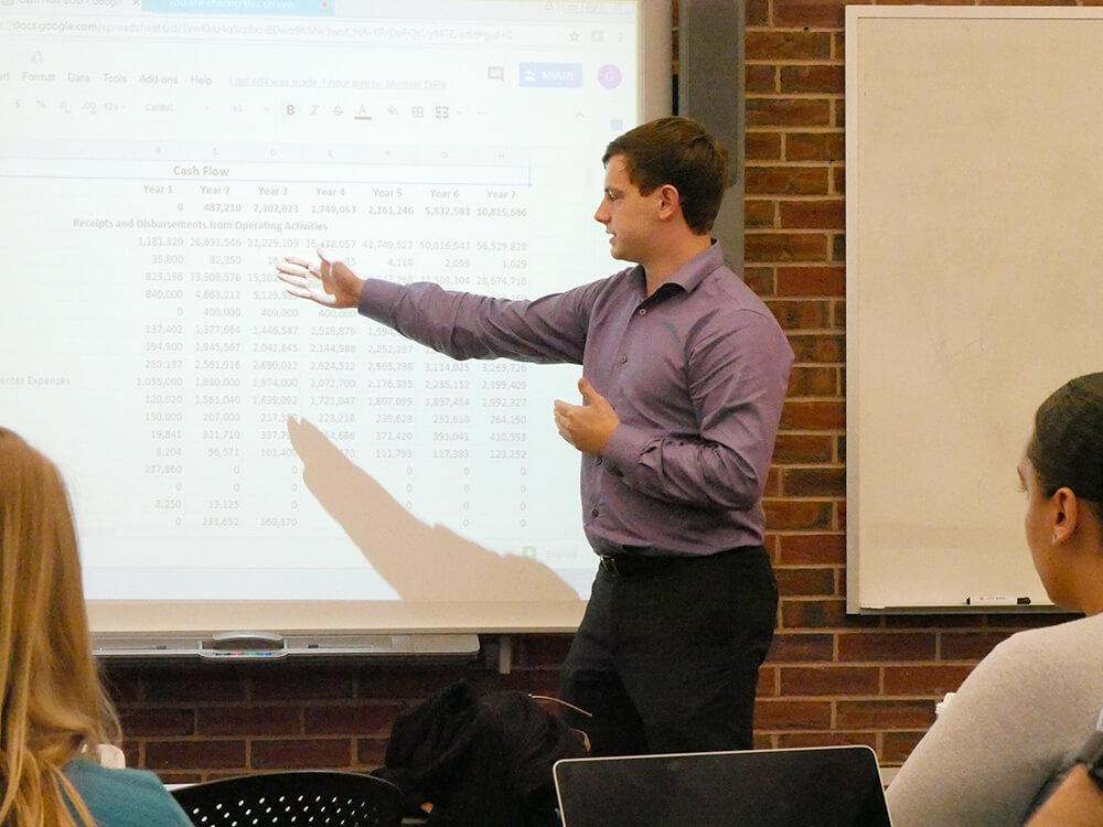 MBA student making a presentation