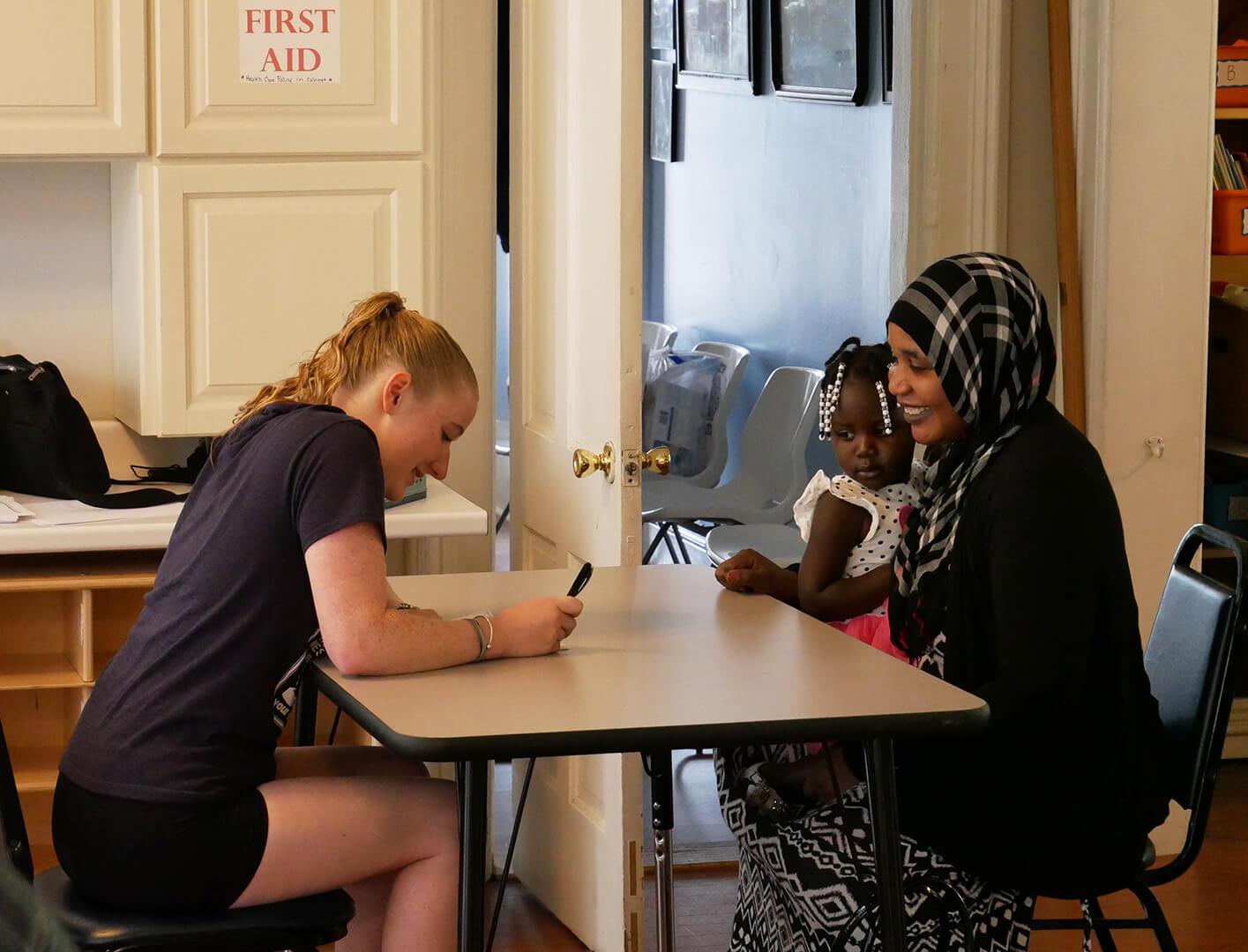 Elementary education major Victoria Wanko '21 at Gray House