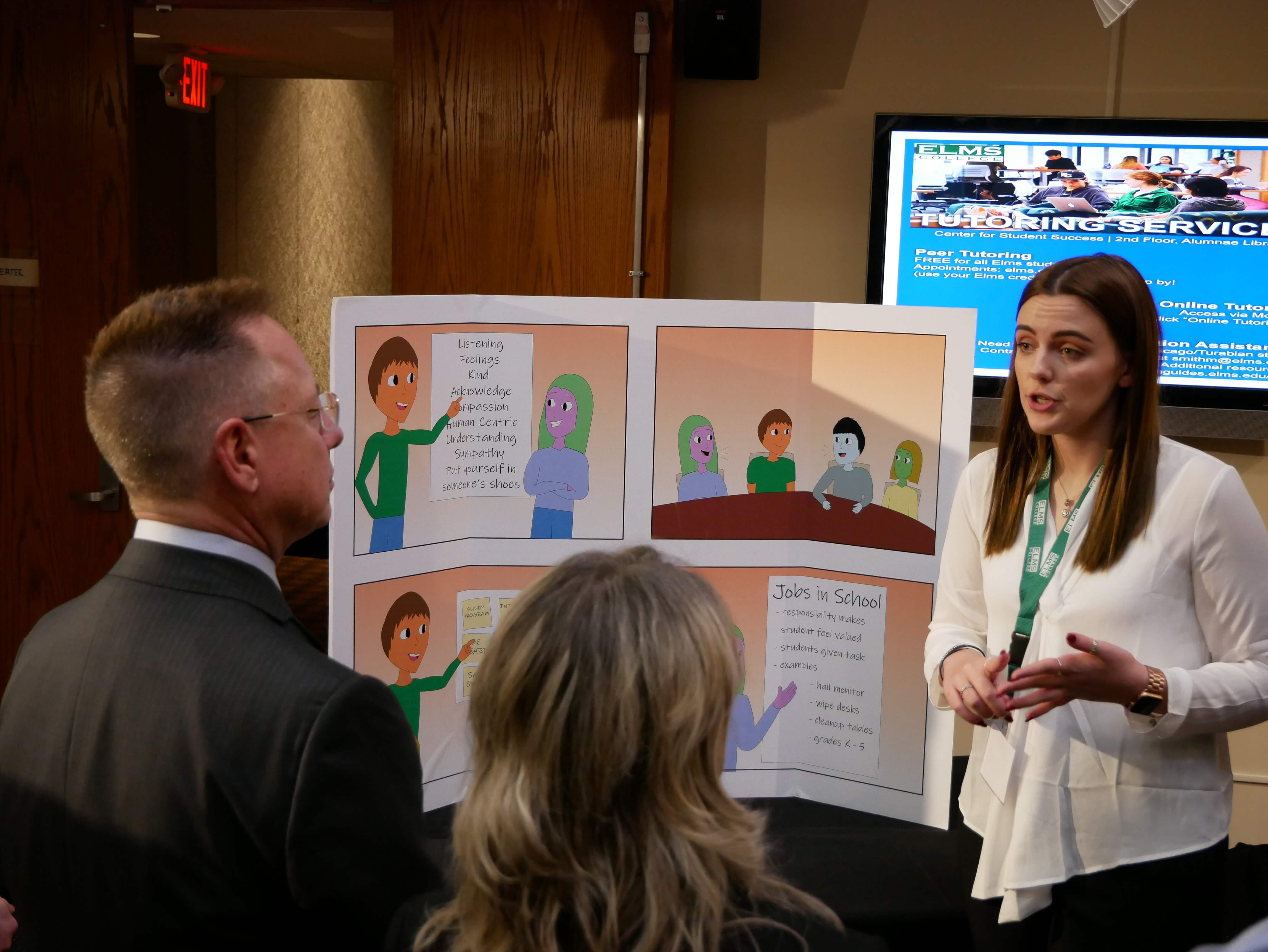 Photo of Elementary education major Samantha O'Grady '20 at the Elms Innovation Challenge