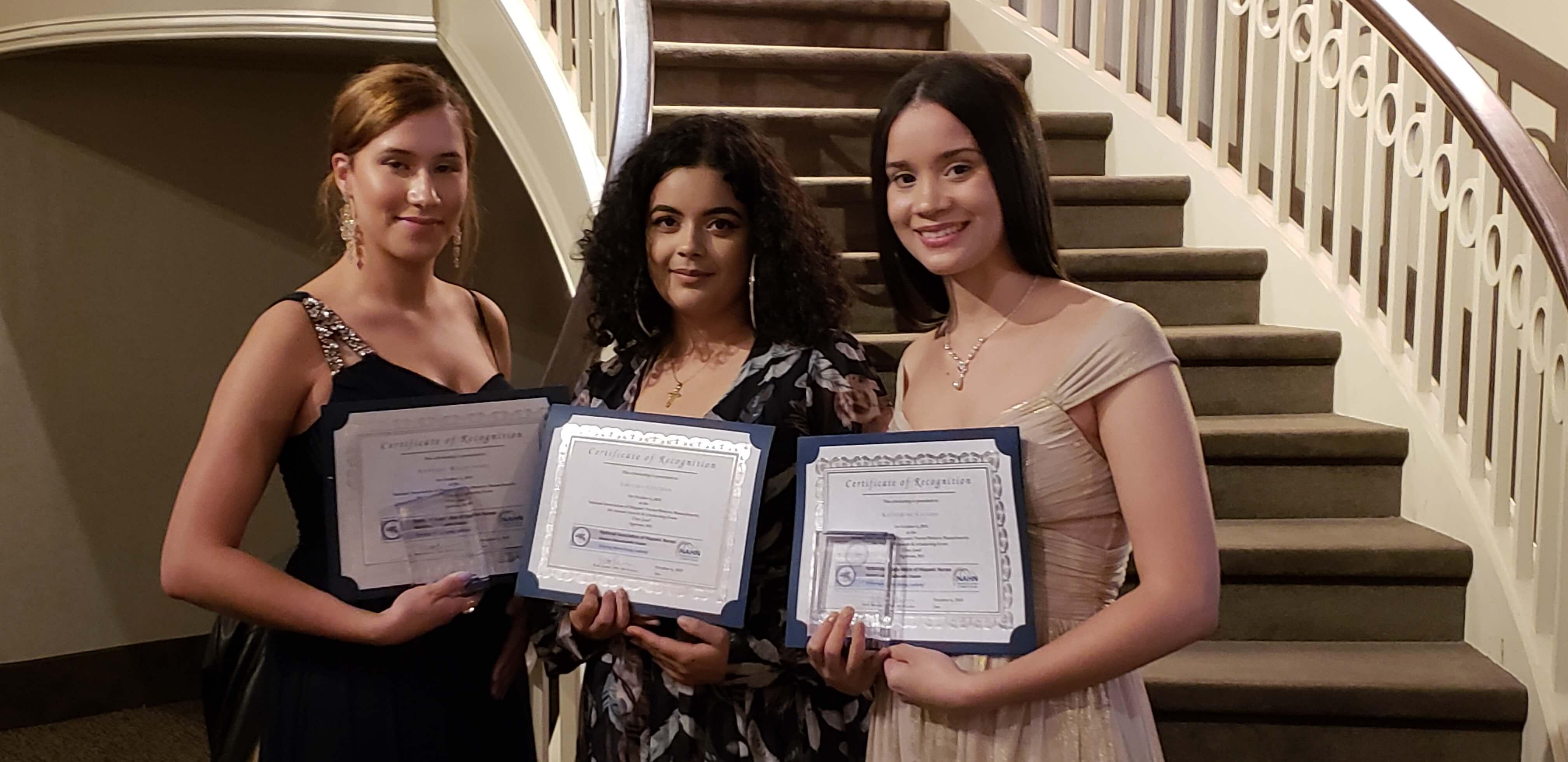 Photo of Nursing majors Annabel Maldonado '19 (left), Luceida Cintron '21 (middle), and Katherine Casado '19 (right)
