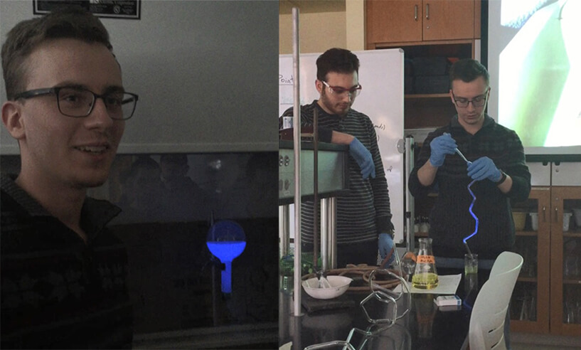 Photo of Andrew Zulch '19 doing an ammonia fountain experiment