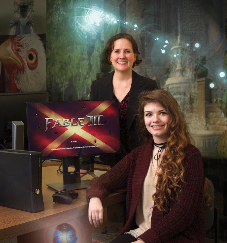 Photo of Associate Professor of Psychology Jen Rivers & Sarah Picard '18, a psychology major