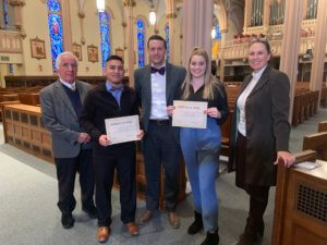 Photo of 2019 St. Thomas More Scholarship Recipients Hannah Pichardo '21 and Manuel Savalza '21 . Courtesy of Sharon Roulier and iObserve