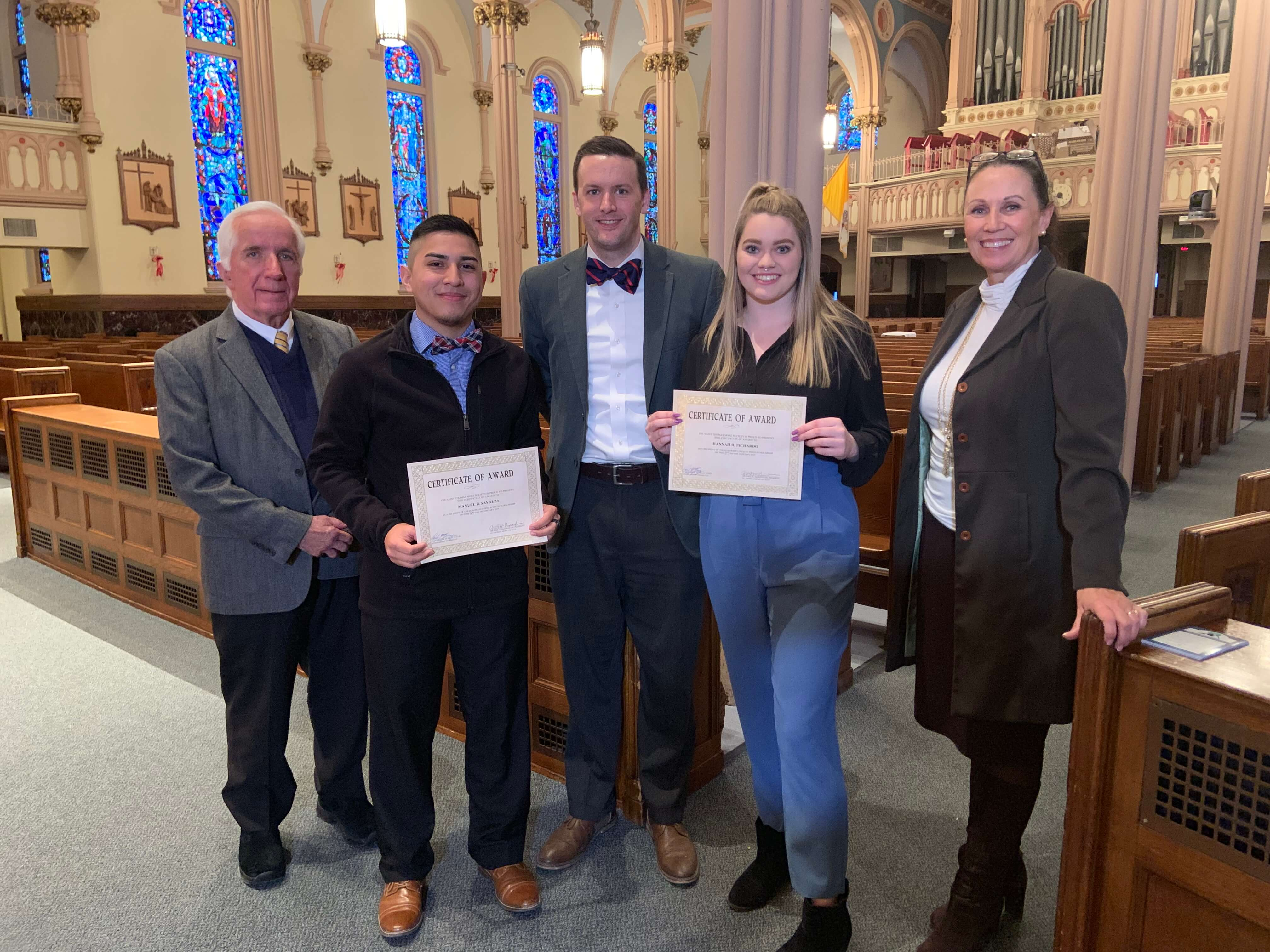 Photo of 2019 St. Thomas More Scholarship Recipients Hannah Pichardo '21 and Manuel Savalza '21 . Courtesy of Sharon Roulier and iObserve