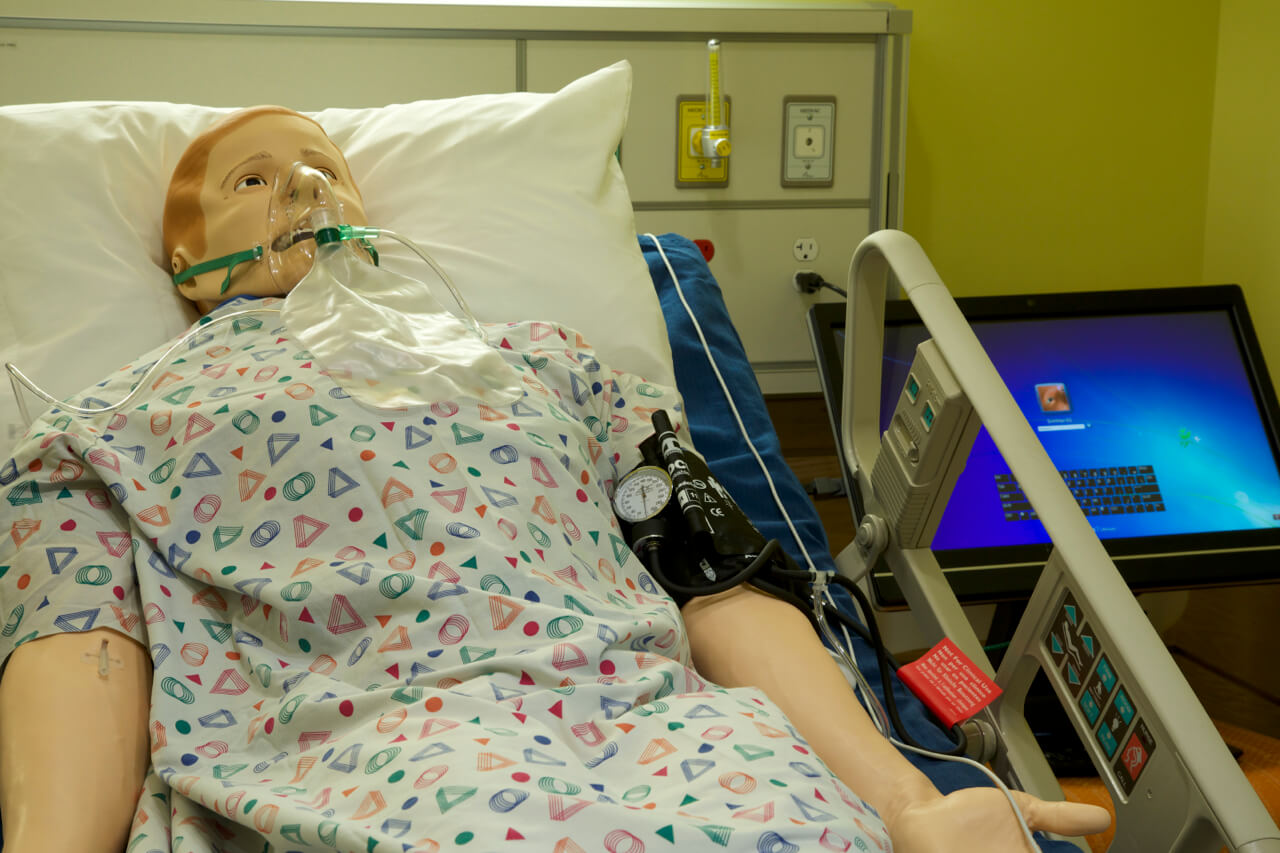 Photo of a mannequin in the nursing simulation lab