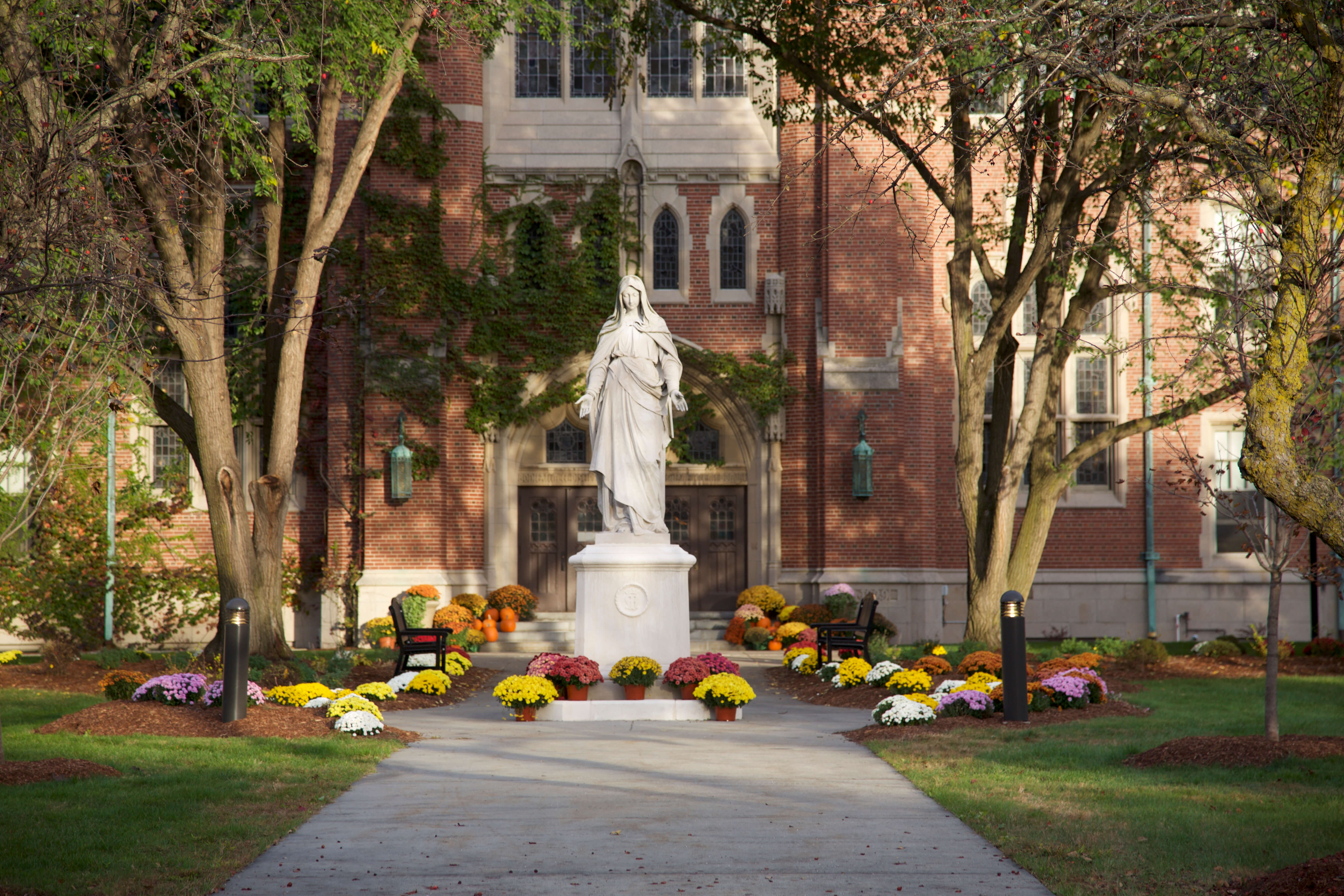 Statue of Mary in front of Berchmans Hall