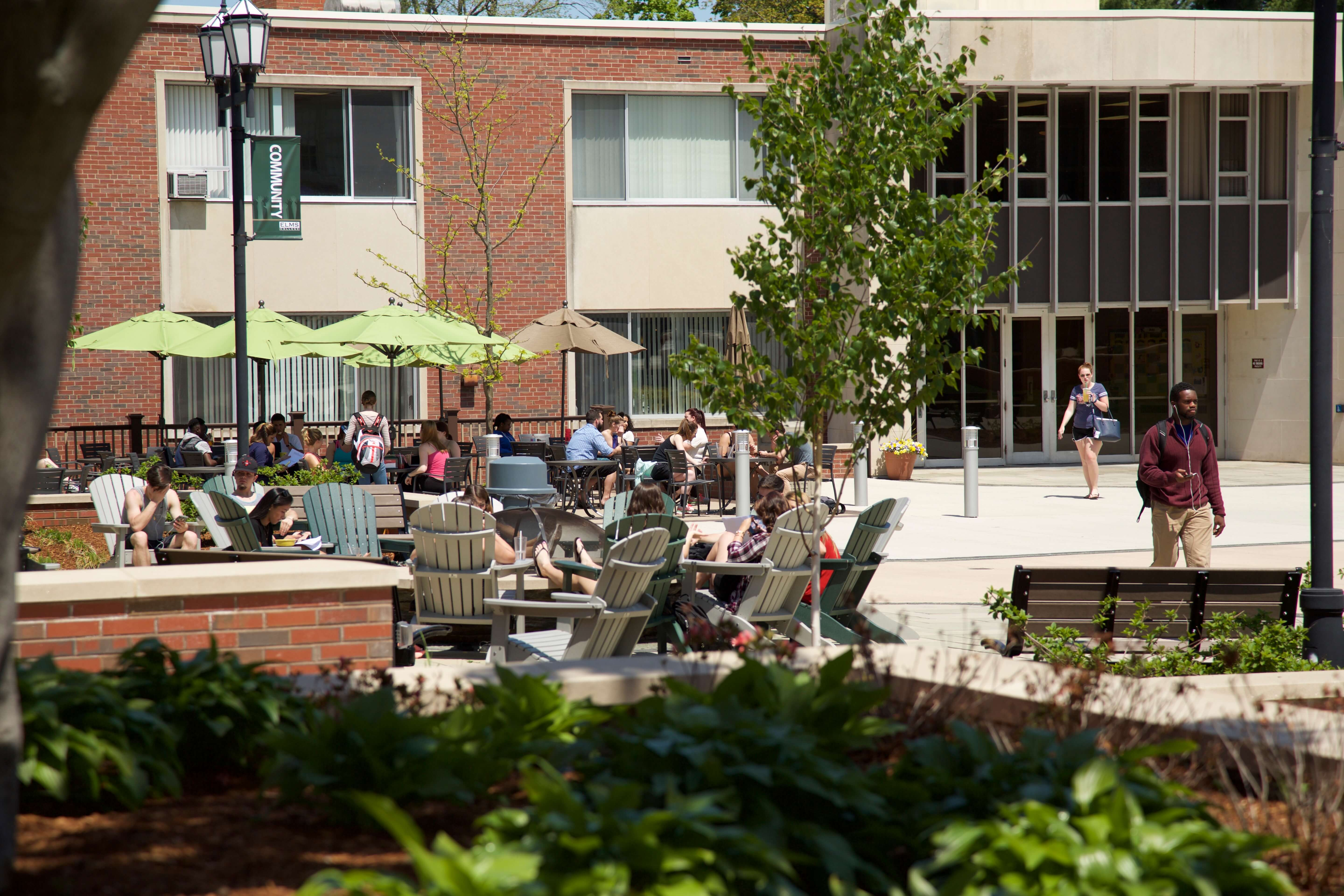 Photo of the outdoor cafe and firepit on Keating Quad