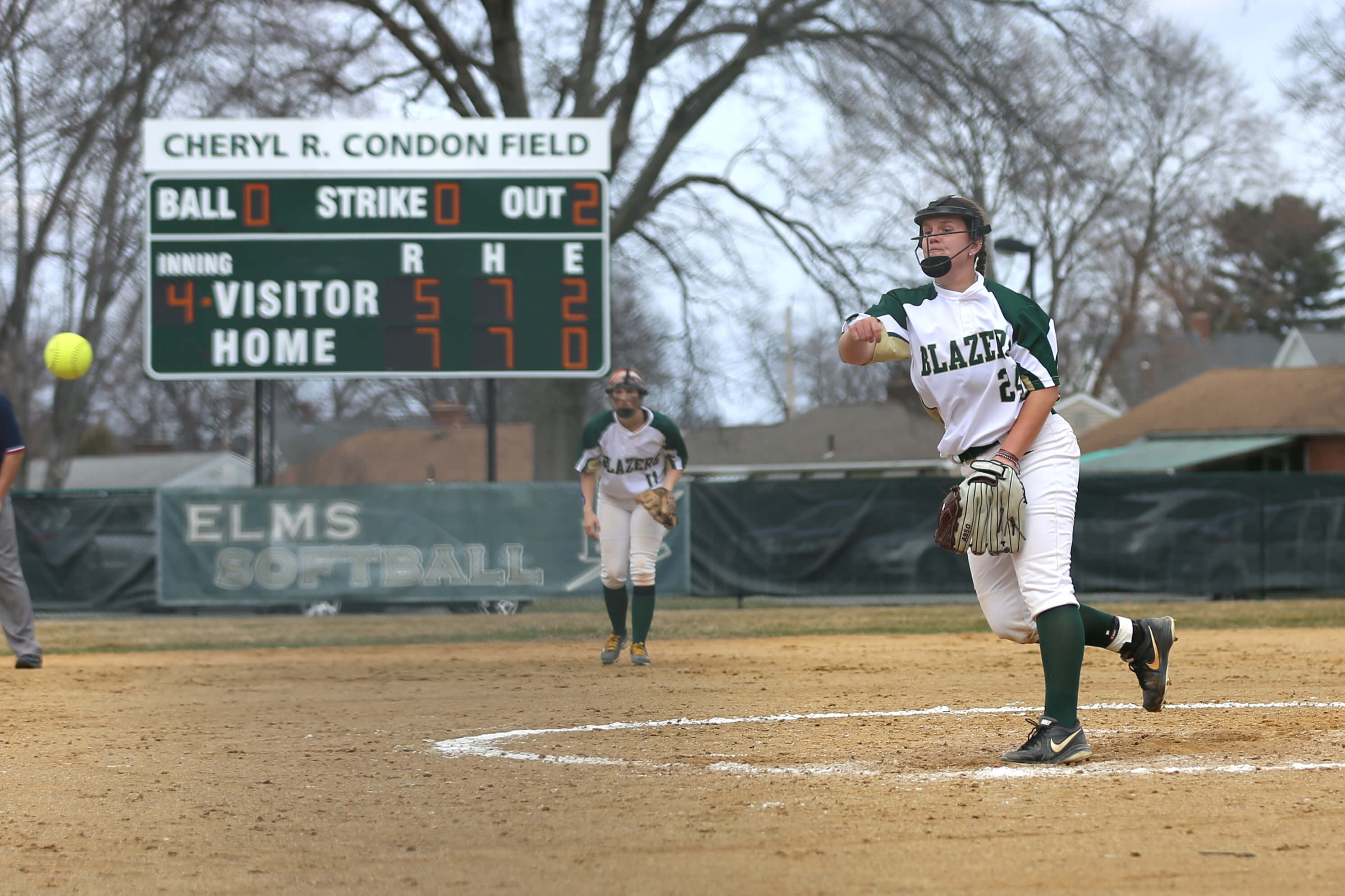 Photo of softball player on Condon Field