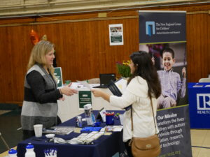 Photo of a student at the career and internship fair