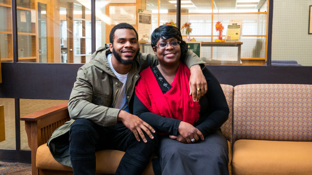 Photo of Julian Manning '20 and his mother, Beverly Ramsey