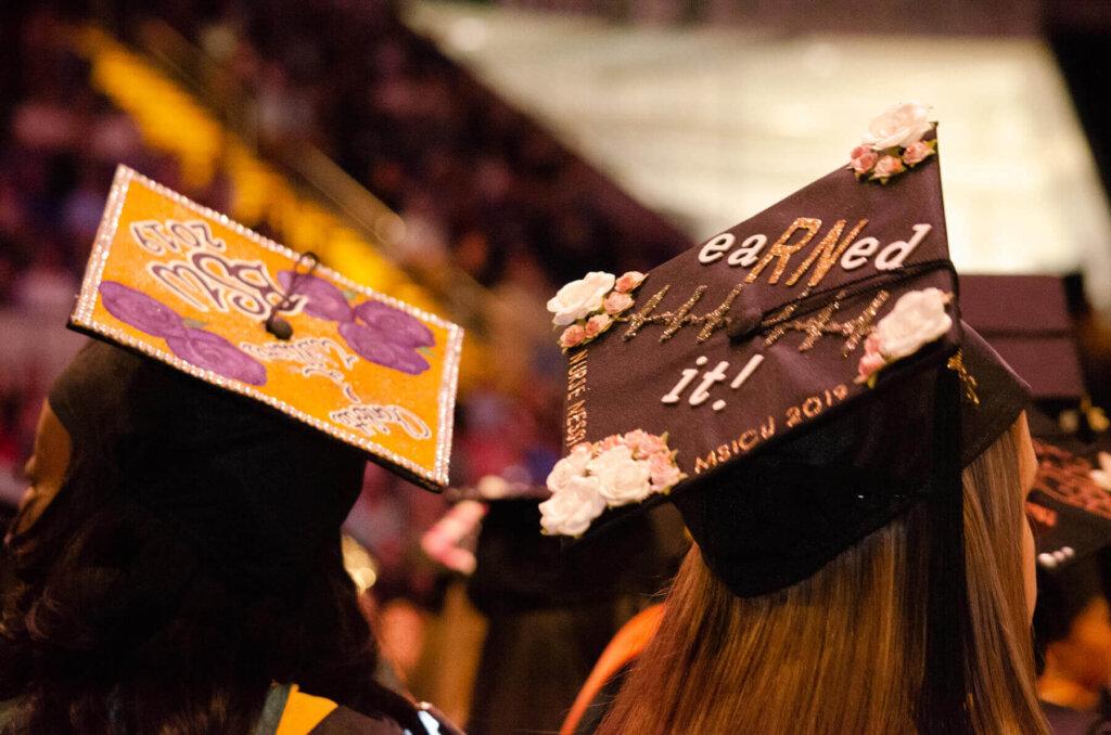 Decorated graduation caps.