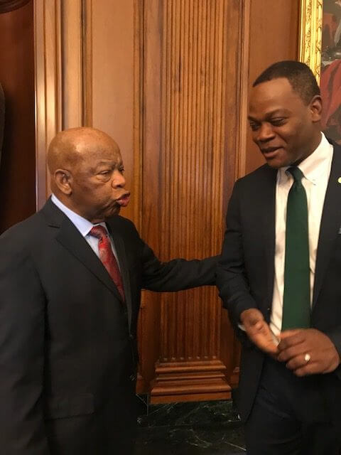 Dr. Dumay with Congressman Lewis on Capitol Hill in February 2019.
