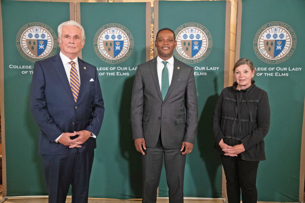Photo of President Dumay with Jack and Colette Dill at the CERC launch