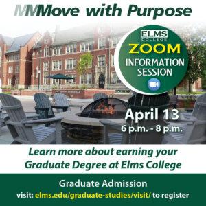 Promotional image for the April 13 graduate programs information session.