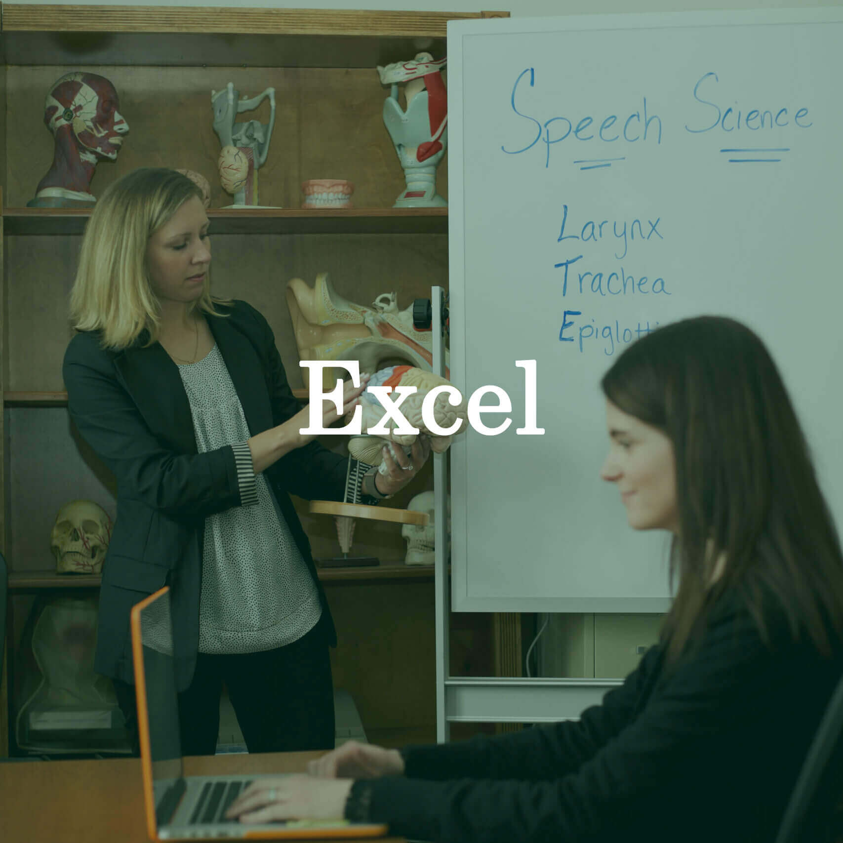 """Photo of the professor and a student with a laptop with a text overlay that reads """"Excel."""""""