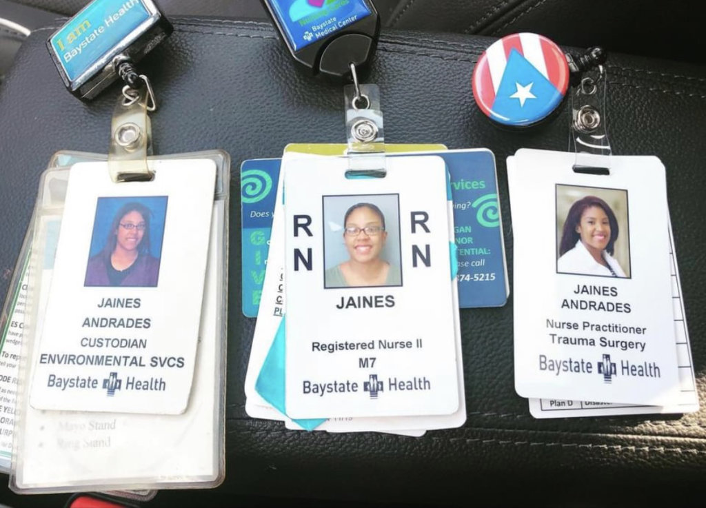 Photo of RN badges; Jaines Andrades, DNP